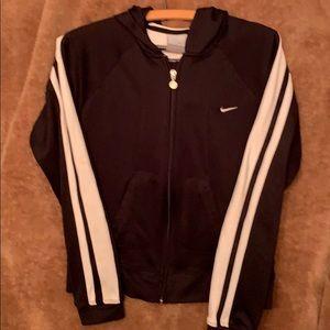 Nike zip up hoodie black with white trim